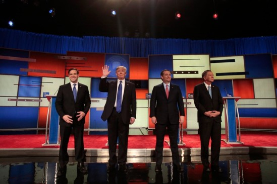 Republican U.S. presidential candidates Rubio, Trump, Cruz and Kasich pose together at the start of the U.S. Republican presidential candidates debate in Detroit,