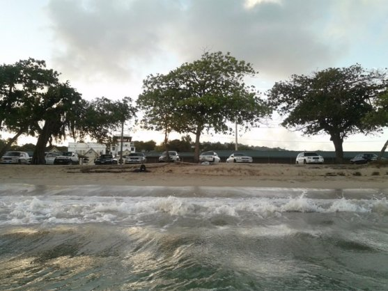 The sand on Gates' beach is imported from the Caribbean.