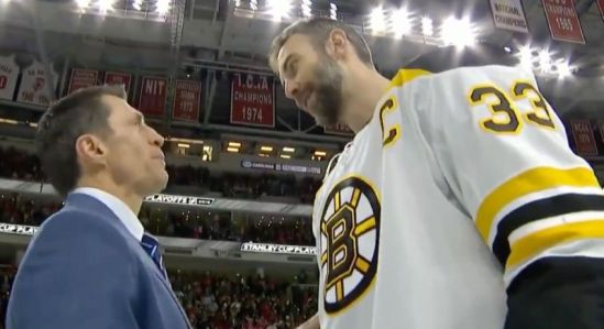 Hurricanes head coach Rod Brind-Amour (left) and Bruins' Zdeno Chara chat after Boston swept Carolina in the Eastern Conference Finals on Thursday night. (Twitter//