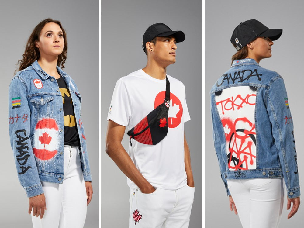 """The Opening Ceremony uniform, centre, and the closing ceremony """"Canadian Tuxedo."""""""